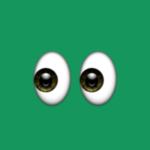 Eye emoji on green background